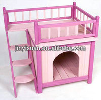 Pink Priness Wooden Dog House / Dog Kennel Building with Balcony