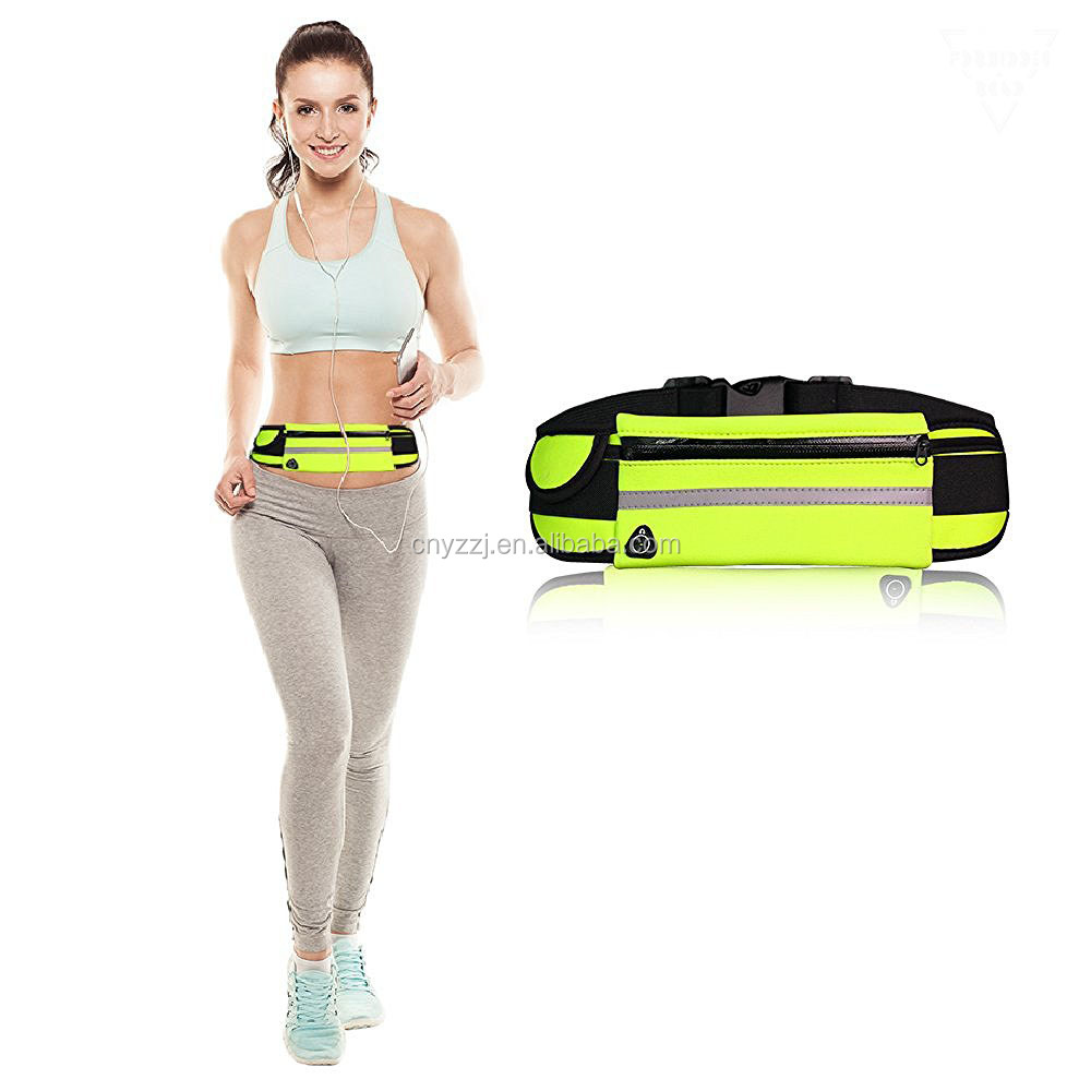 2016 wholesale neon yellow zipper waterproof running waist bag
