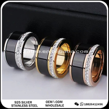 18k gold plated stainless steel ceramic black color ring jewelry