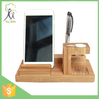 For iphone and apple watch 3 in 1 wood security stand holder Desk Organizer with new design