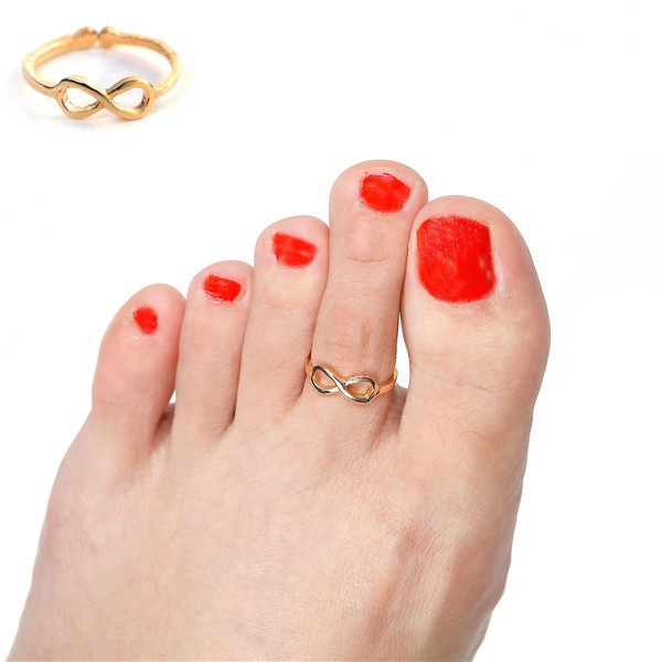 Fashion Gold Plated Best Infinity Symbol Open Adjustable Toe Rings