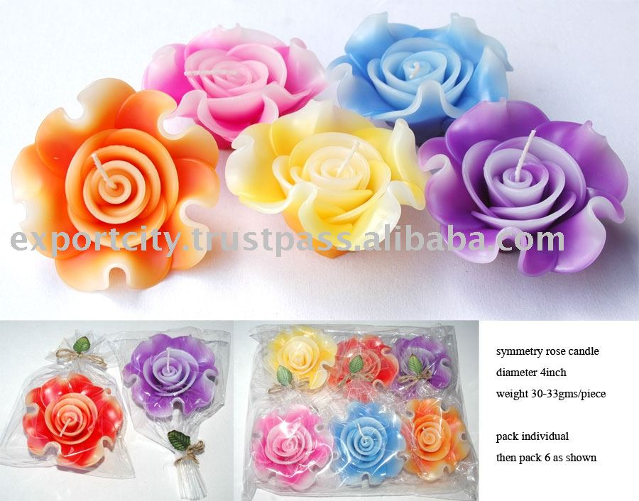 Symmetry rose handmade 4inch 30-33gms floating candle
