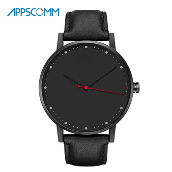 2017 APPSCOMM Smart Watch Men's Genuine Leather Quartz Bluetooth Waterproof Wristwatch Fashion Business Hybrid Watch