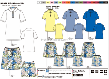 ladie's short sleeve golf polo shirts and skorts