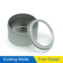 FD round shallow tin box with clear pvc window