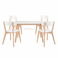 scandinavian solid wood rectangle birch 6 chairs Dining Table with White MDF top