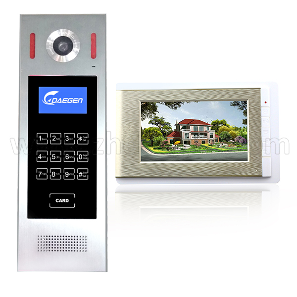 7'' LCD color video doorphone 4+2 wire video intercom system for multi apartments