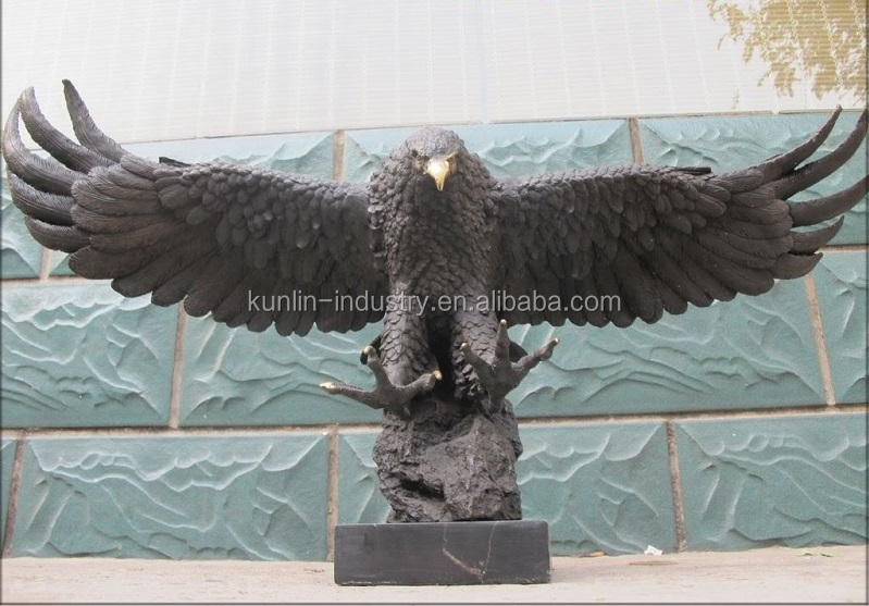 HUGE Bronze Eagle open wings hawk sculpture with marble base