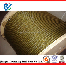 galvanized steel wire rope with yellow grease 6*37+FC