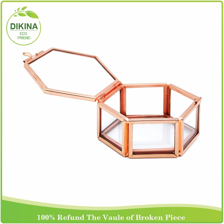 Hexagon heart square rectangle mini ROSE GOLD>>>Custom high quality wholesale wedding gift display brass glass round jewelry box