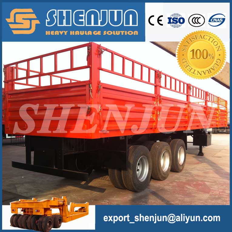 Steel rail fence side wall semi trailer used for bulk cargo transport