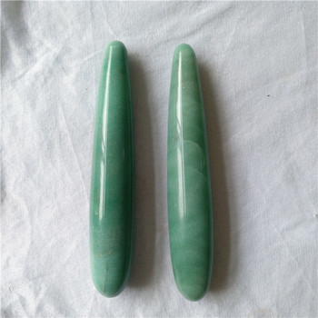 Skinny natural green aventurine stone massage healing yoni wands sexy women crystal dildos penis