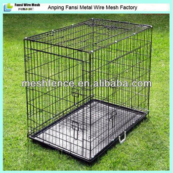 Black powder coated collapsible dog crate