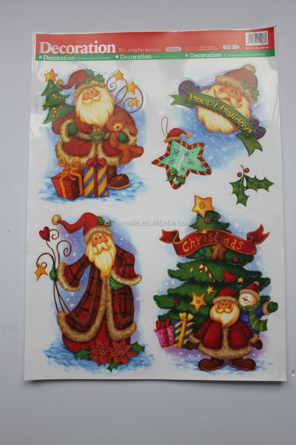 2014 Static cling Christmas sticker Window static sticker