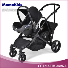 Aluminium frame with coating double seats baby stroller,PU wheels 3-in-1 baby strollers