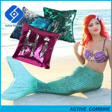New 2017 Custom Logo 2 Color Change Reversible Sequin Mermaid Case Pillow