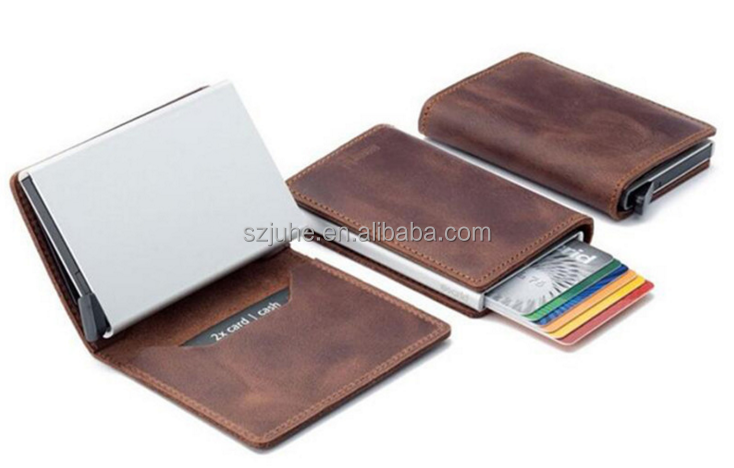 Hot sale !! RFID blocking card case automatic metal business credit card holder smart wallet