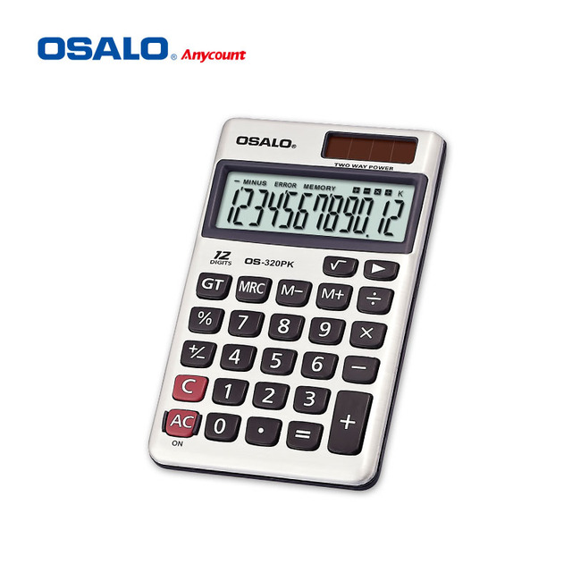 os-320pk vip gift calculator 12 bit with leather case calculator solar panel
