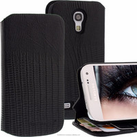 Geniune Leather Lucca Bookstyle case for Samsung Galaxy S4 Mini i9190 i9195 Croco Black Cow Leather