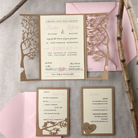 royal tree decorations laser cut wedding invitations card