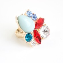 fashion jewelry new styles gold plating gemstone ring