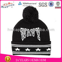 Pom Pom Beanie Two Tone Color Plain Winter Cap Skull Hat Ski Knit Warm Cuff New