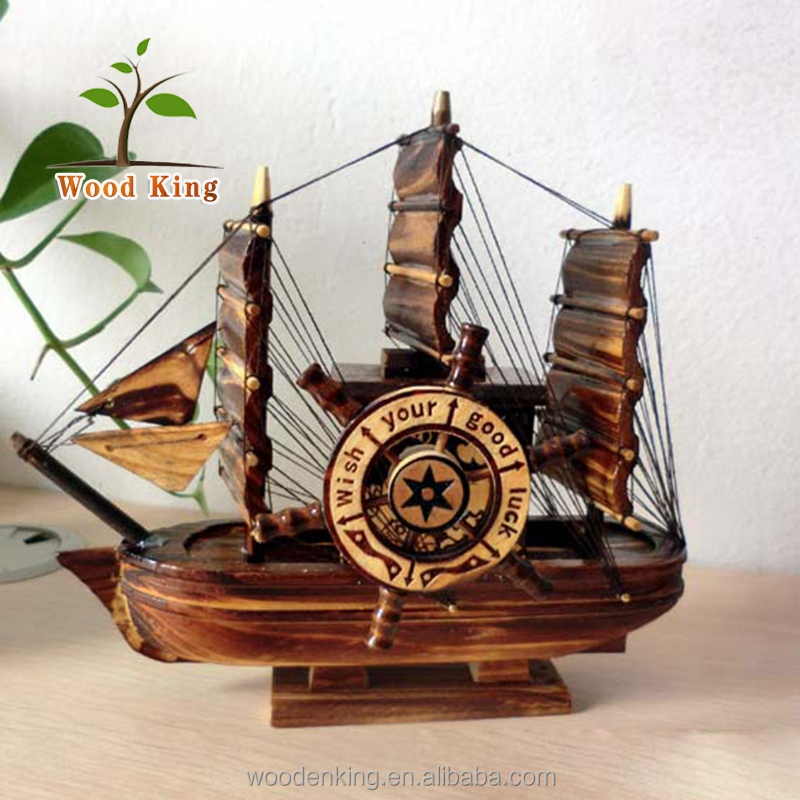 Pirate Rotate Windmill Music Box Student Valentine'S Day Birthday Present Model Ship Wooden Craft Boat Decoration