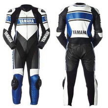 Motorbike Racing 2-piece Zip Up Leather Suits Black and White WELL QUALITY