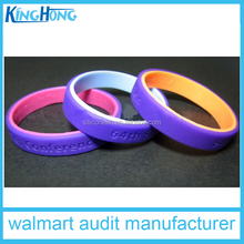 audit manufacturer silicone two layer rubber energy wristband,silicone bracelet