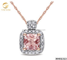 18K Rose Gold Plated Jewelry Sterling Silver Cushion-cut Morganite Necklace