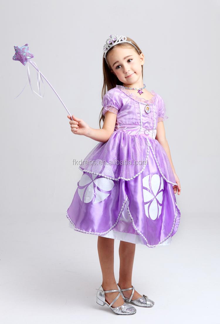 Alta calidad al por mayor Princesa Sofía vestido Niñas Ropa de los ...