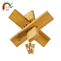 Bamboo brain teaser wooden block toy puzzle