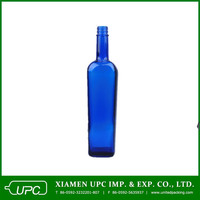 750ml tequila blue glass bottle