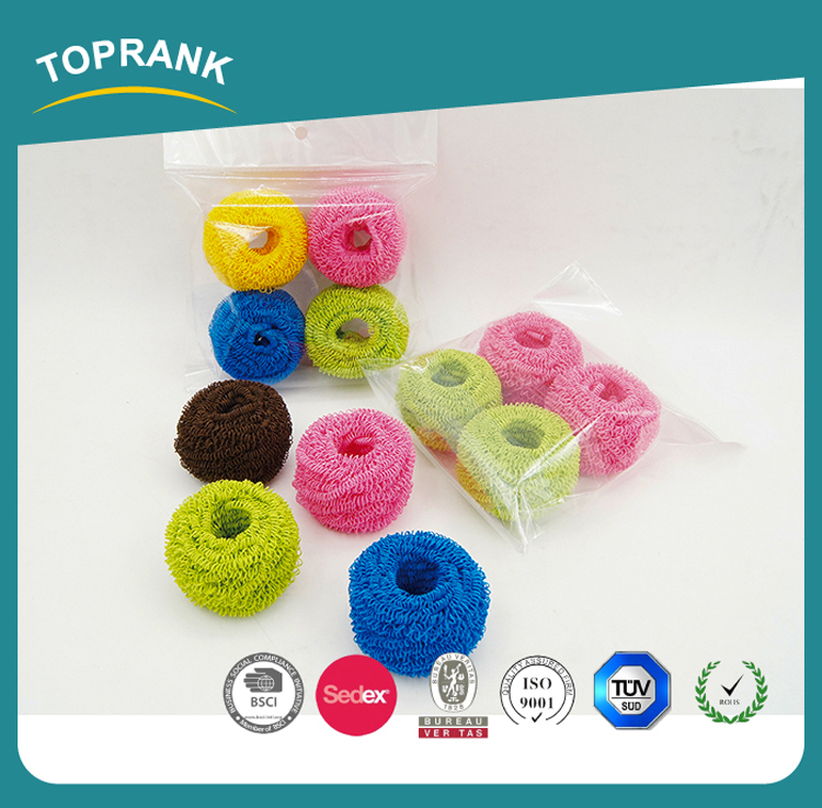 Toprank High Quality Plastic Wire Mesh Sponge Scrubber Kitchen Cleaning Polyester Fiber Scrubber