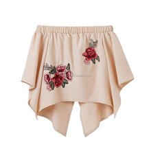 Latest disign embroidered rose top girls for free shipping