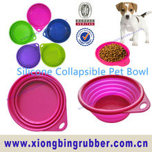 LFGB standard portable silicone folding dog bowl