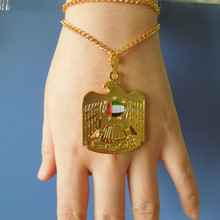 UAE bracelet golden crystal bling falcon logo for 44 national day uae