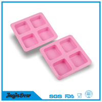 JINGJIA 4 Cavities Silicone Portion Cake Mold , Silicone Soap Pan