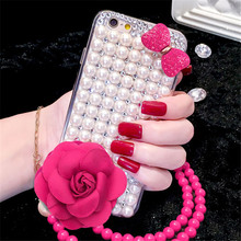 GZ Huashi Factory Custom 3d Rose Flower Case for iPhone 6 6plus 7 7plus with Pearl