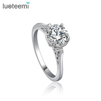 LUOTEEMI Charming Accessories Endless Love Heart Shaped 18K White Gold Silver Plated Lovers' Cheap Wholesale Wedding Ring