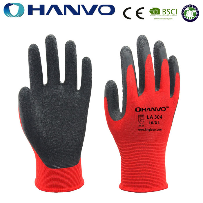 HANVO Cheap 13Gauge Red Nylon Liner Coated Black Latex Working Gloves