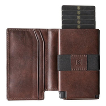 High Quality Leather Wallet Credit Card Holder Metal Box Click to Slide Out The Cards With RFID Blocking