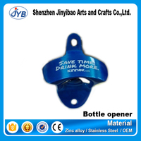 Best promotion blue wall mounted bottle opener with SS cap catcher