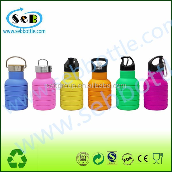 Protective Silicone Sleeve water bottle With 3 Interchangeable Leak-proof Caps