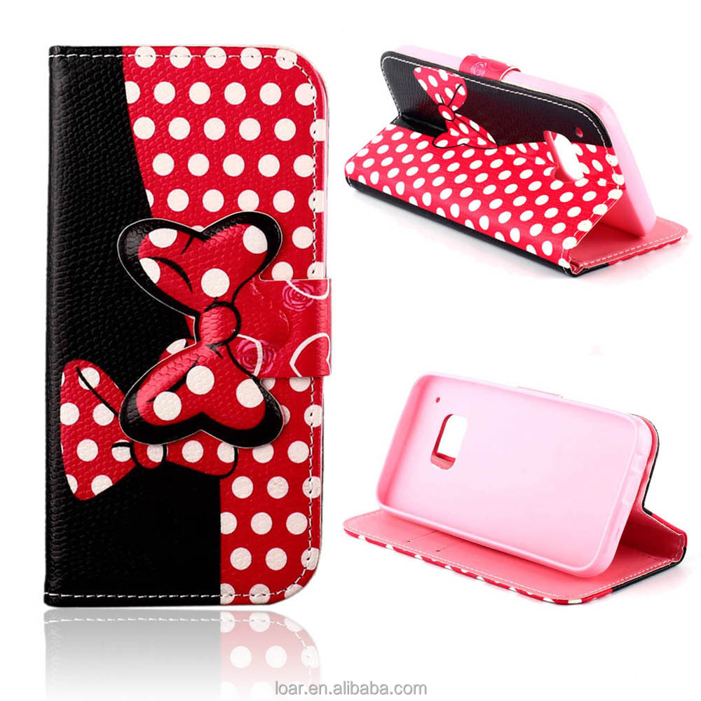 Cute Polka Dot Pink Flip Leather Wallet Case For Samsung Galaxy S3 S4 S5 S6 Edge for Girls