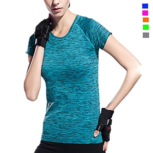 Activewear Shirt Women Sleeve Round Neck Workout T-Shirt Girl Moisture Wicking Athletic T Shirts