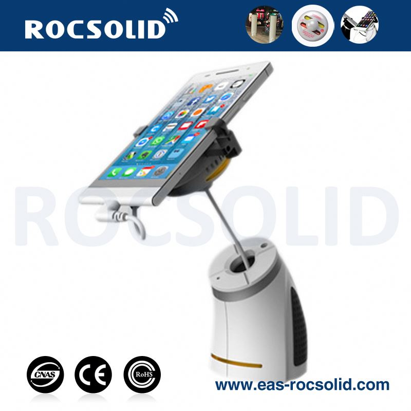 phone shop display, plastic phone stand, anti-theft charging security white mobile phone display