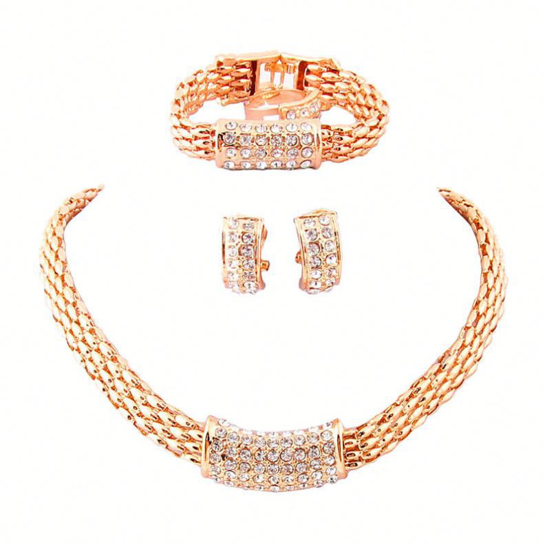 2016 Wholesale fashion jewellery african gold necklace wedding jewelry set