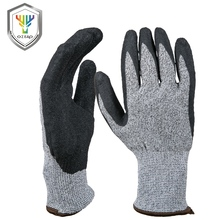 Custom made dipped latex palm rubber coating safety anti cut gloves level 5