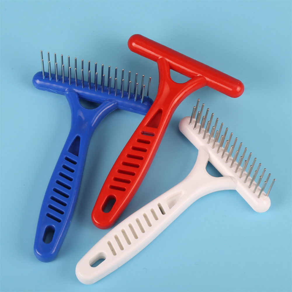 Fancy Pet Care Dogs Comb Double Row Stainless Steel Rake Comb Double Pin Grip Handle Brush